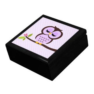 Purple Owl Illustration Jewelry Box