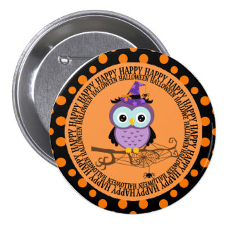 Purple Owl in Witch Hat Halloween Pinback Button