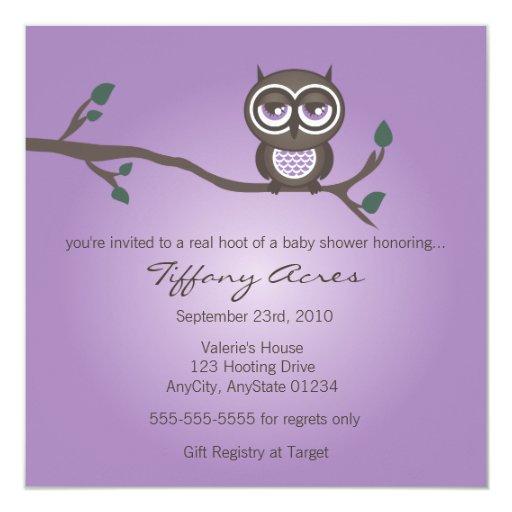 Purple Owl Invitation