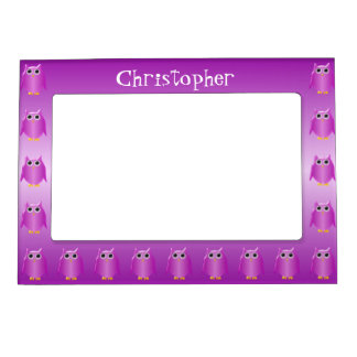 Purple Owl Just Add Name Magnetic Frame