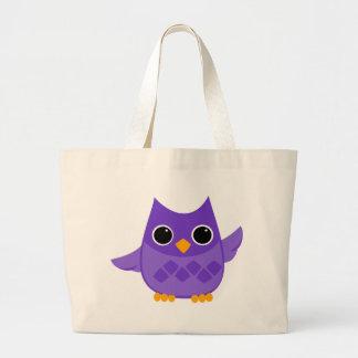 Purple Owl Large Tote Bag