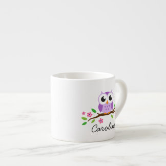 Purple owl on branch cute personalized name espresso cup