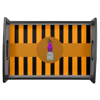 Purple Owl on Grave Stone with Orange Stripes Service Trays