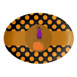 Purple Owl on Pumpkin with Orange Dots Porcelain Serving Platter