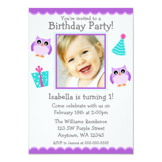 Purple Owl Party 1st Birthday Girl Photo 5x7 Paper Invitation Card