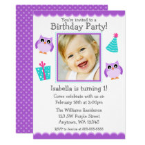 Purple Owl Party 1st Birthday Girl Photo Card