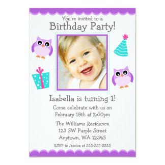 "Purple Owl Party 1st Birthday Girl Photo 5"" X 7"" Invitation Card"