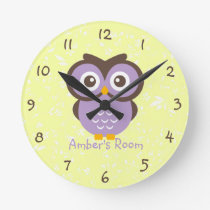 Purple Owl Personalized Kids Bedroom Round Clock