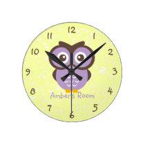 Purple Owl Personalized Kids Bedroom Wall Clock