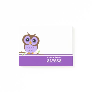 reflections06 Purple Owl Personalized Post-it Notes