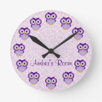 Purple Owl Personalized Round Clock