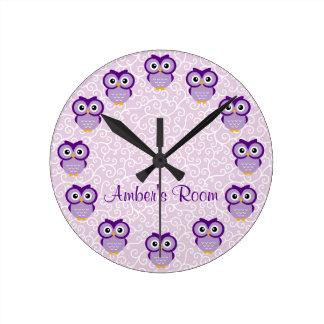 Purple Owl Personalized Round Clock