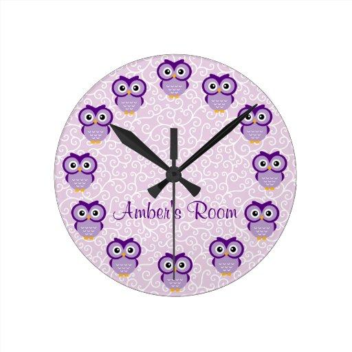 Purple Owl Personalized Wall Clocks