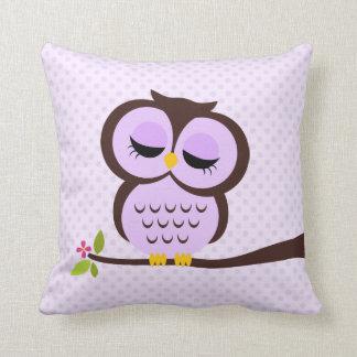 Purple Owl Throw Pillows