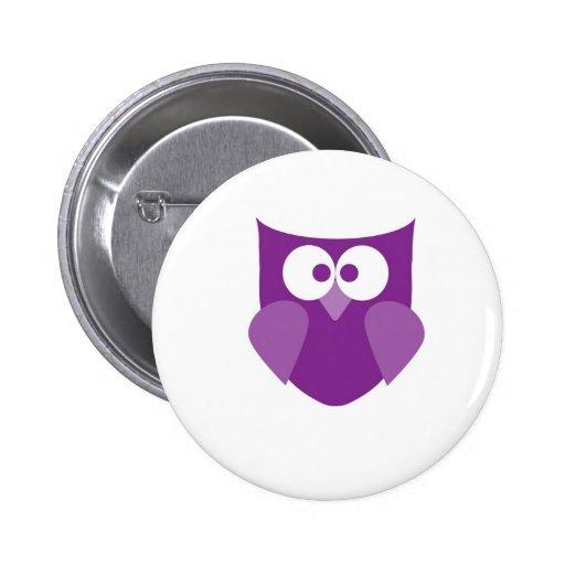 Purple Owl Pinback Buttons