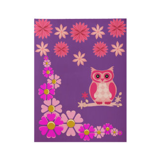purple owl poster for children's room decore