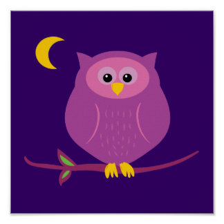 Purple Owl Posters