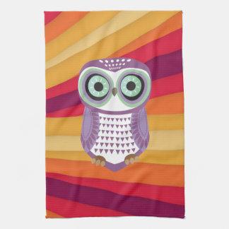 Purple Owl Red Orange Background Kitchen Towel