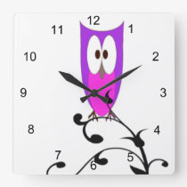 Purple Owl Square Wall Clock