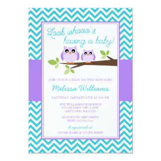 Purple Owl Teal Chevron Girl Baby Shower Card