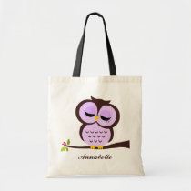 Purple Owl Tote Bag