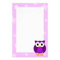 Purple Owl Under The Stars Stationery