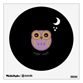 Purple Owl Wall Decal - Night Night Purple Owl