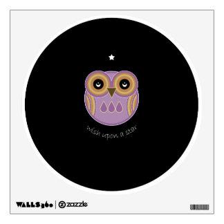 Purple Owl Wall Decal - Wish Upon A Star Owl