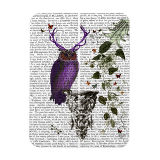 Purple Owl With Antlers 2 Magnet