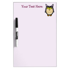 Purple Owl With Big Eyelashes Cartoon Dry Erase Board