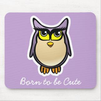 Purple Owl With Big Eyelashes Cartoon Mouse Pad