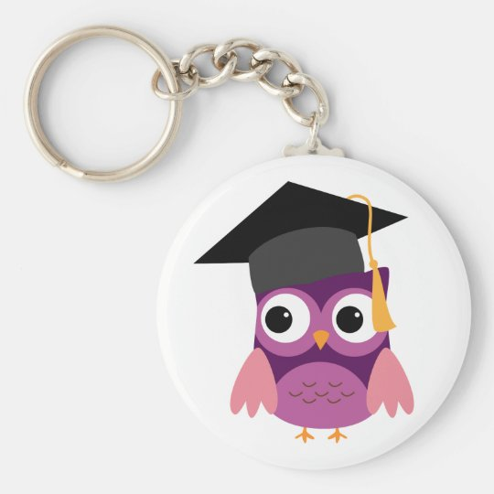 Purple Owl with Cap Graduation Keychain