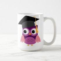 Purple Owl with Cap Graduation Mug
