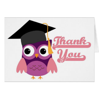 Purple Owl with Graduation Cap Thank You Card