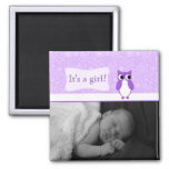 Purple Owl with Retro Circles New Baby Photo 2 Inch Square Magnet