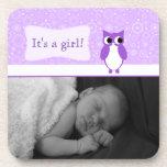 Purple Owl with Retro Circles New Baby Photo Coasters
