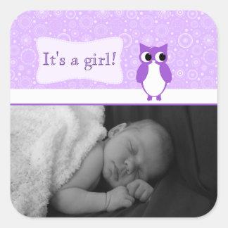 Purple Owl with Retro Circles New Baby Photo Square Sticker