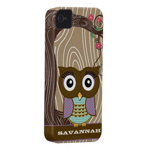 Purple Owl Wood Grain Tree Zig Zag Choose Colors Case-Mate iPhone 4 Cases