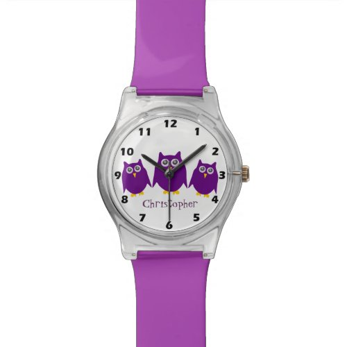 Purple Owls Just Add Name Watch