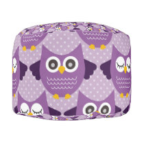 Purple Owls Pouf