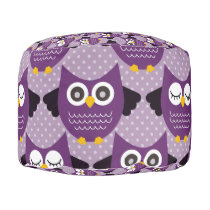 Purple Owls Pouf