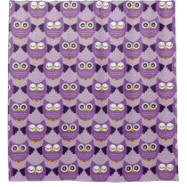 Purple Owls Shower Curtain