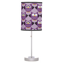 Purple Owls Table Lamp