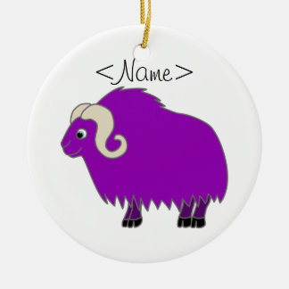 Purple Ox with Curled Horns Ceramic Ornament