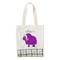 Purple Ox with Curled Horns Zazzle HEART Tote Bag