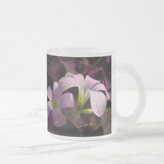 Purple Oxalis Blossoms 10 Oz Frosted Glass Coffee Mug