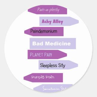 Purple Pain Signs Classic Round Sticker