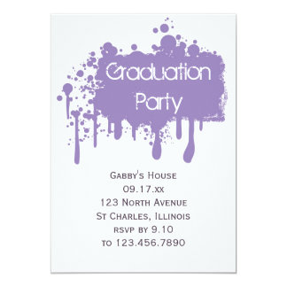 Purple Paint Graduation Party Invitation