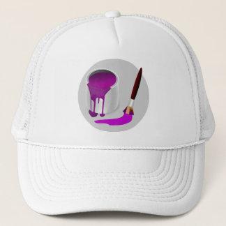 PURPLE PAINT & PAINTBRUSH Trucker Hat