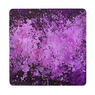 Purple Paint Splash Acid Wash Puzzle Coaster